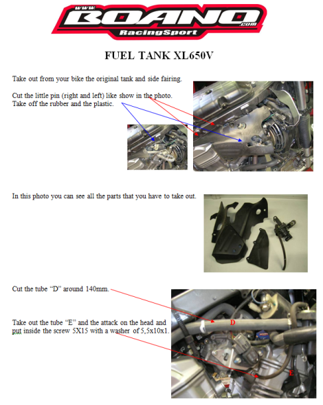 Installation fuel tank page 1